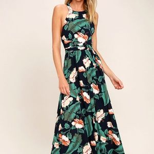 Lulus Temptation Island Navy and Floral Maxi Dress